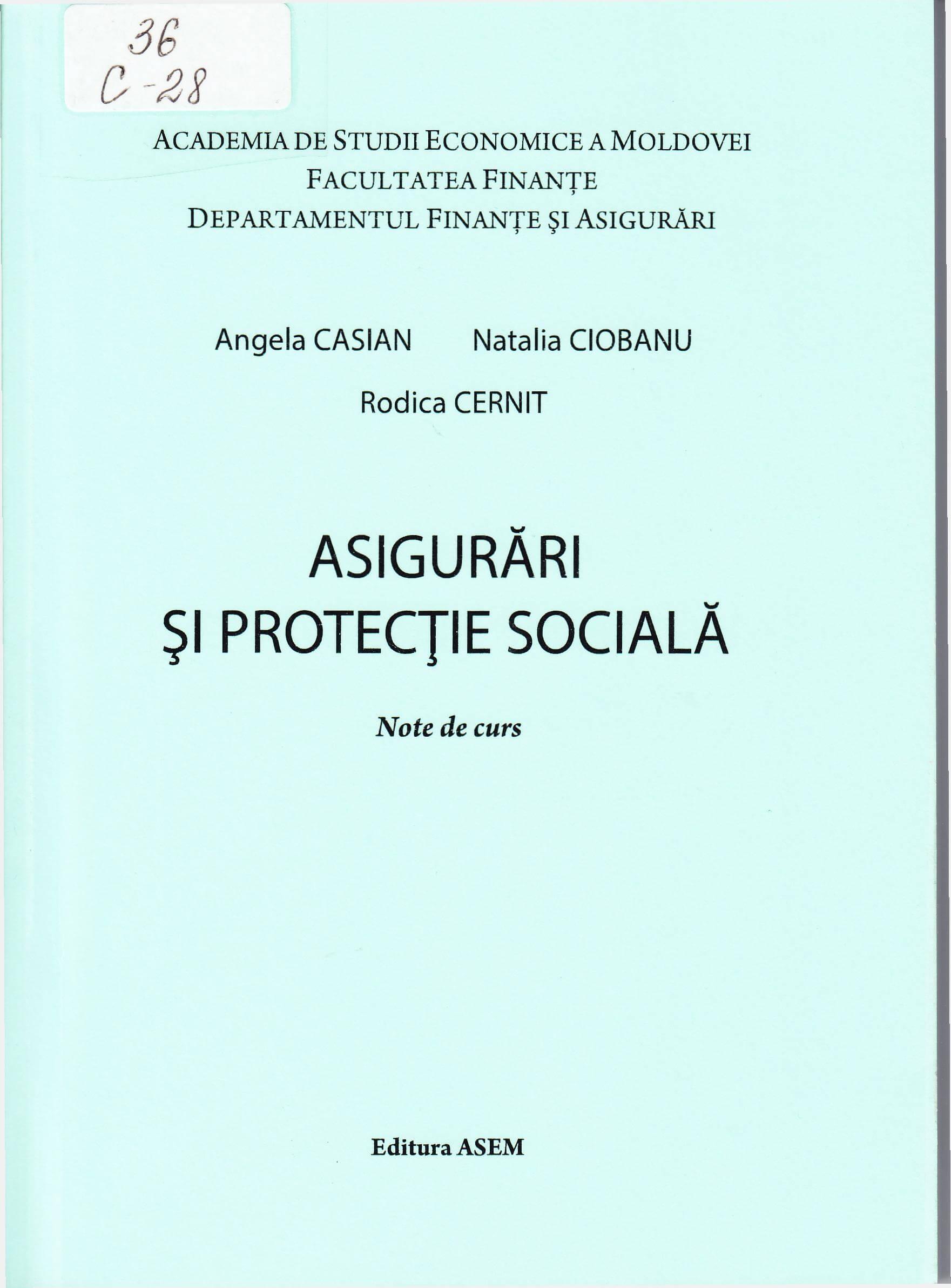 Asigurări şi protecţie socială: Note de curs.